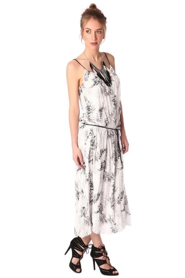 Vestito lungo stampato bianco con cintura