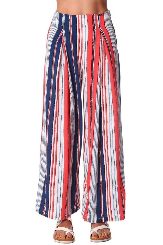 Pantaloni con fondo ampio a righe rosso