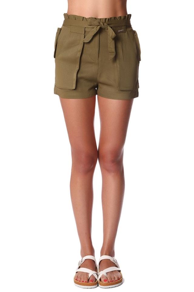 Pantaloncini in twill kaki con vita elasticizzata e nodo sul davanti