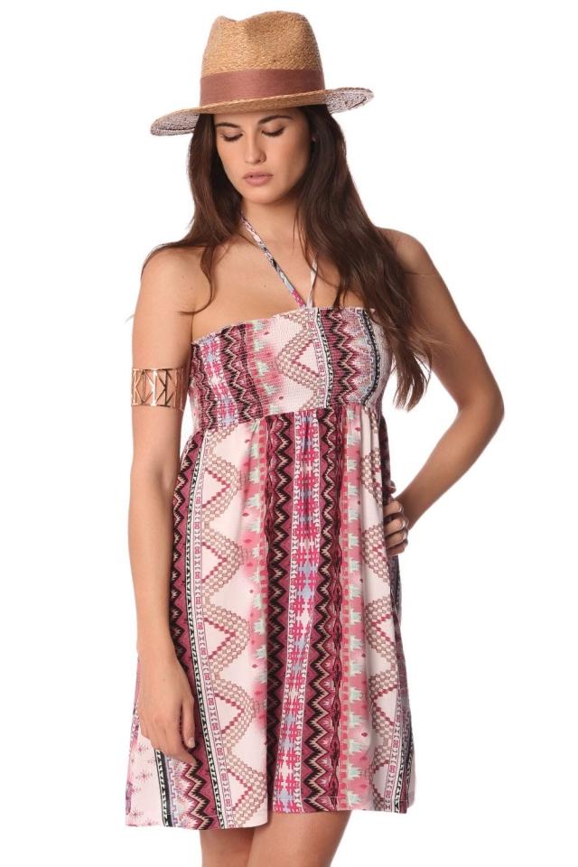 Vestito a fascia con stampa azteca e spalline allacciate al collo