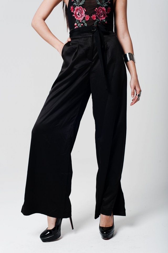 black satin hight waist trousers with wide leg