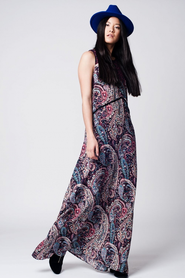 Navy blue Printed maxi dress