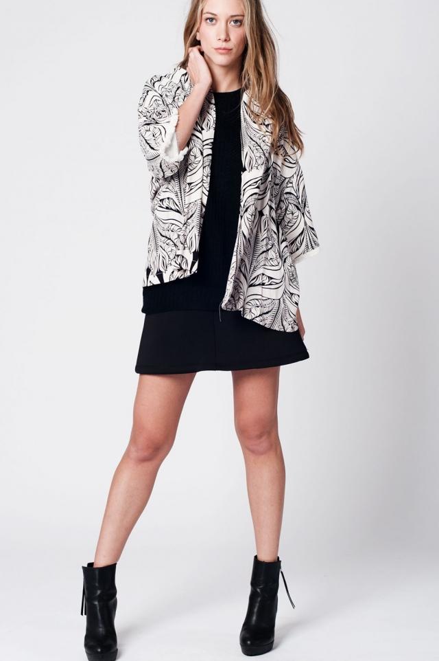 Cream leat print kimono with fringe detail