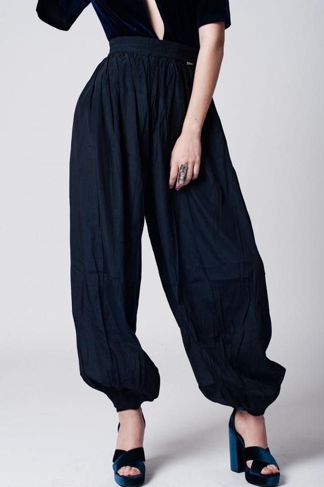 Pantalon formali blu navy con fondo elasticizzato in coordinato