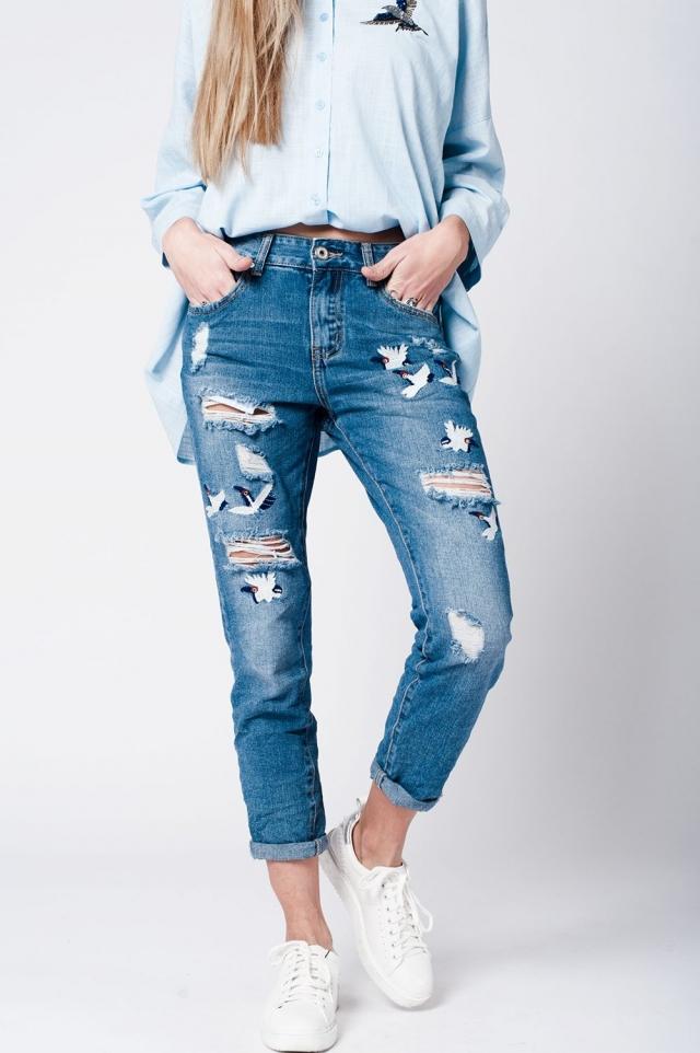 jeans lavaggio medio applicazione di uccelli