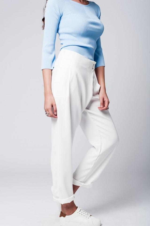 pantaloni dritti bianchi con incrociato sul davanti