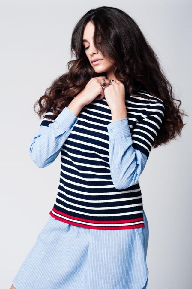 Blu navy a righe linea maglione Contraste
