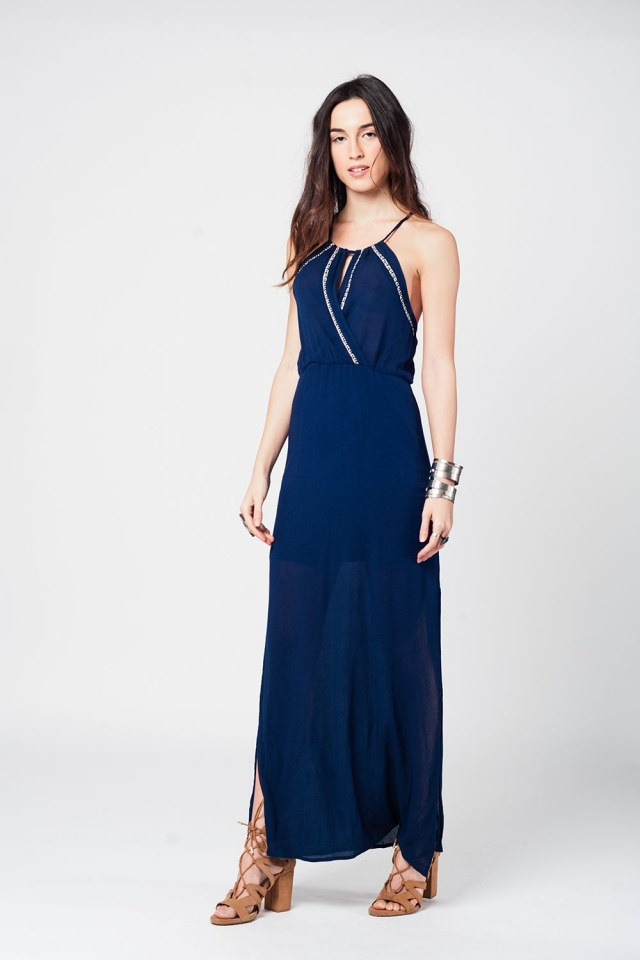 Navy elastical waist maxi dress with small plunge