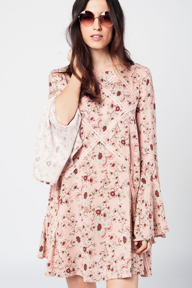 Pink midi texturized dress with cowl back and floral print