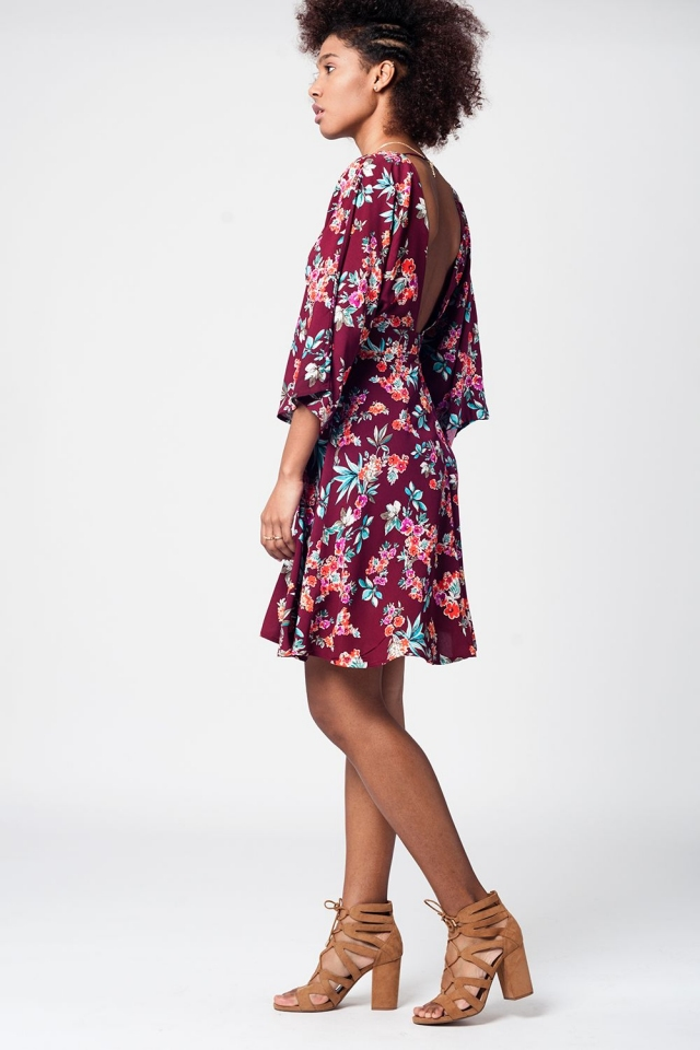 Burgendy cowl back plunged neck dress with floral print