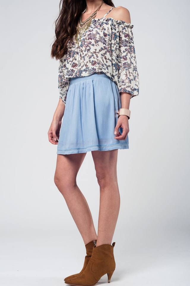 Aztec blue mini skirt