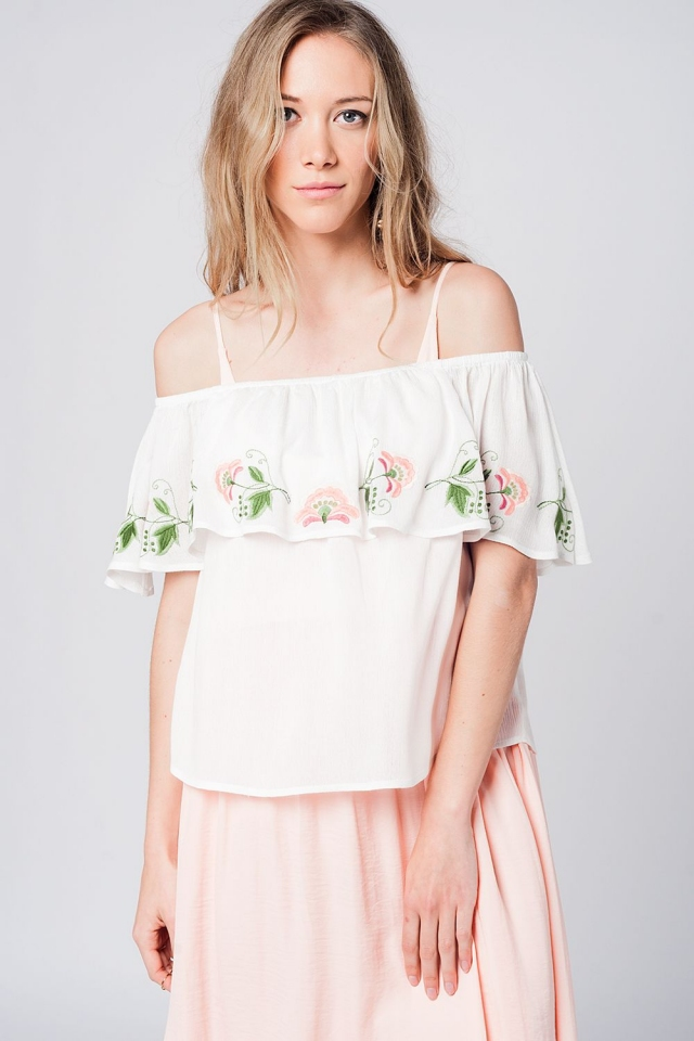 Off shoulder ruffle white blouse with embroidered details