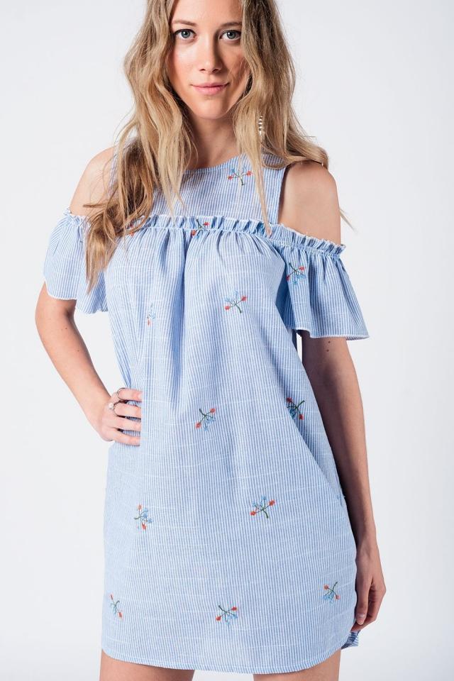 Cold shoulder striped dress with emboidered details