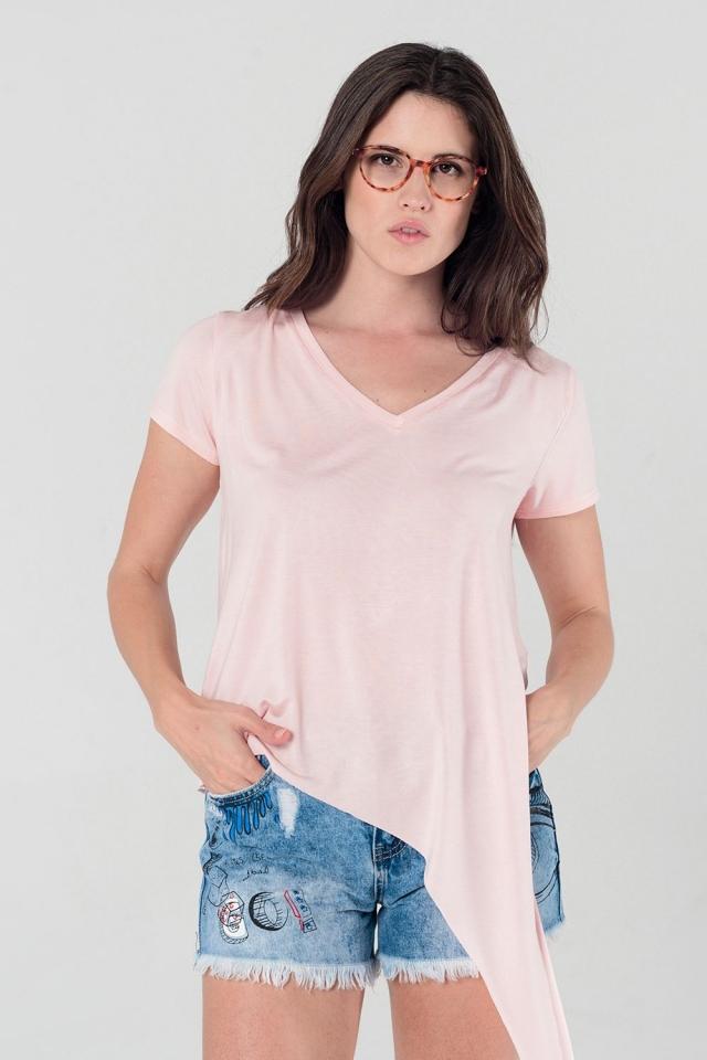 T-shirt rosa asimmetrica