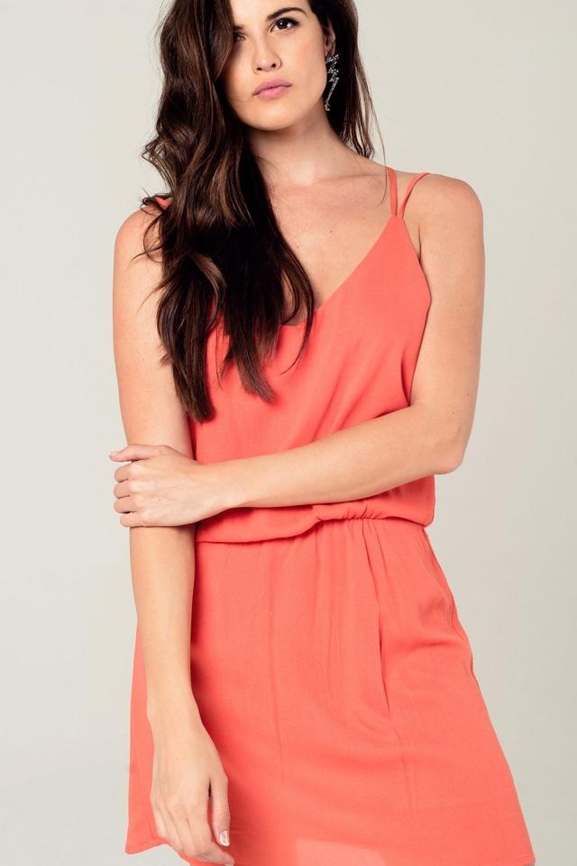 Mini abito arancione con dettagli all'uncinetto posteriore