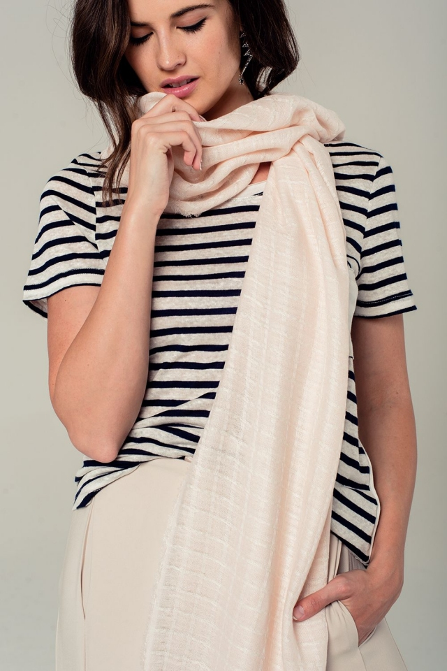 Lightweight pink scarf with grid design