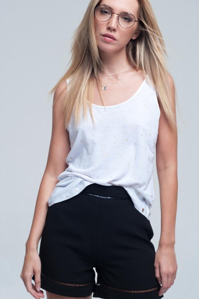 T-shirt senza maniche in bianco con dettagli stampati