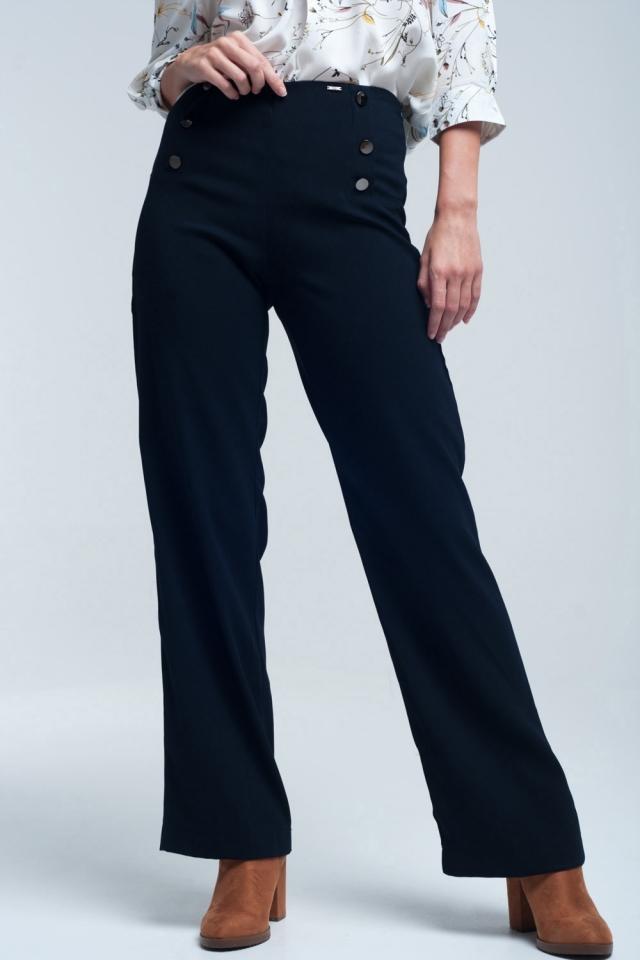 Pantaloni navy con dettaglio frontale stile rotondo stile marino