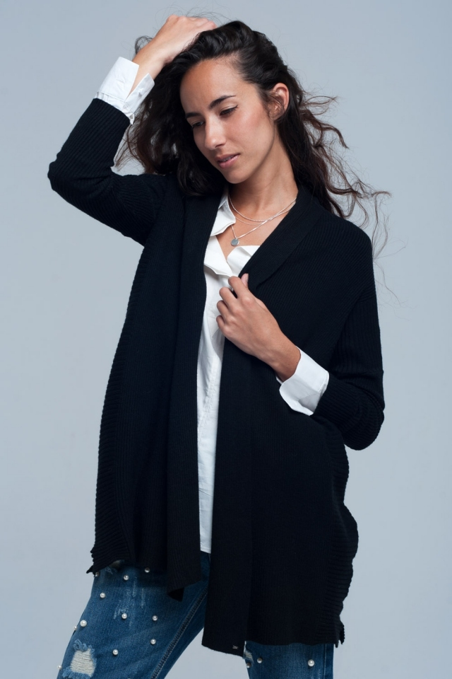 Costine cardigan oversize in nero