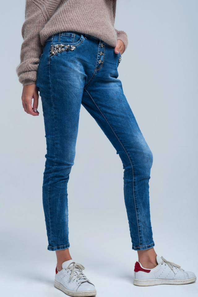 Blue skinny jeans detail pearls