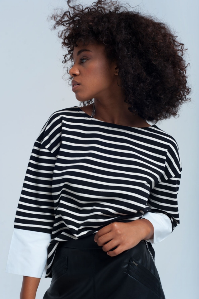 Camicia a righe nero