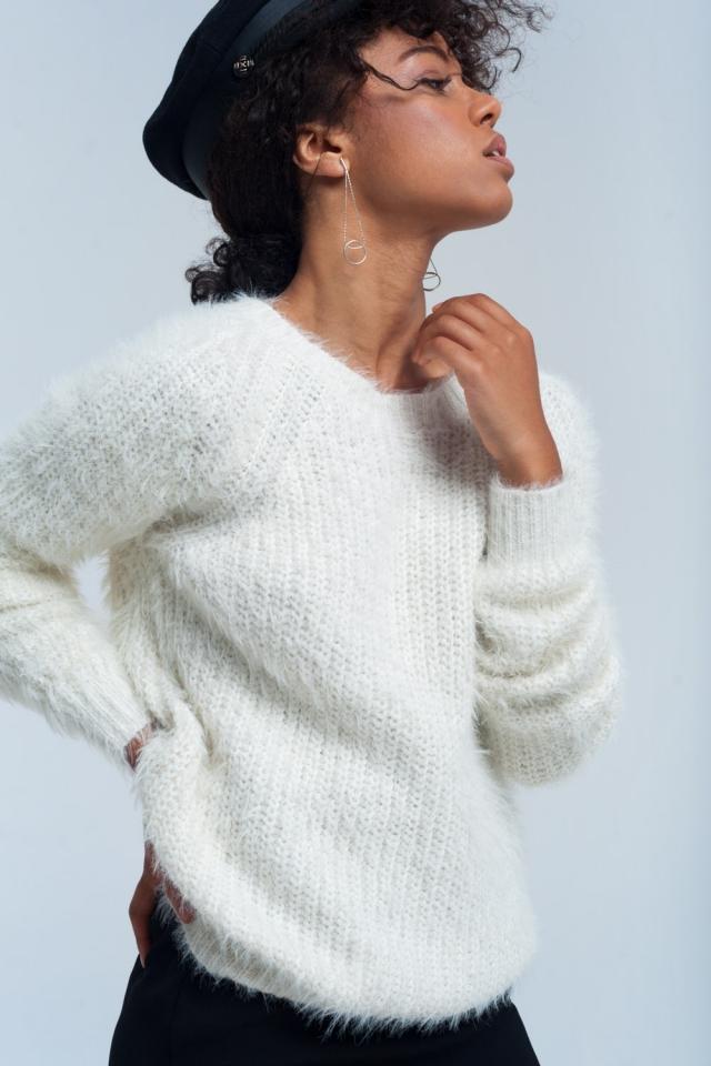 Maglione a maglia crema