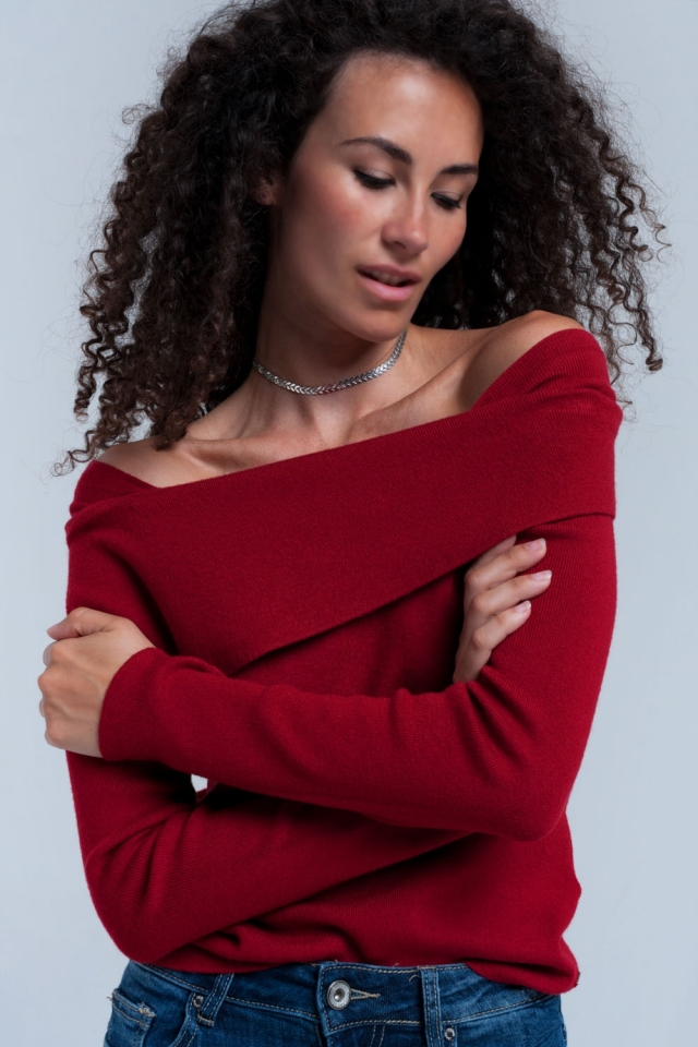 Red off shoulder sweater