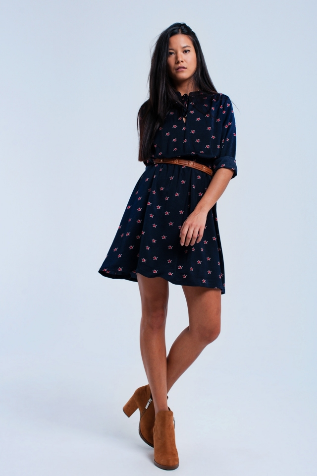 Navy midi dress with stars