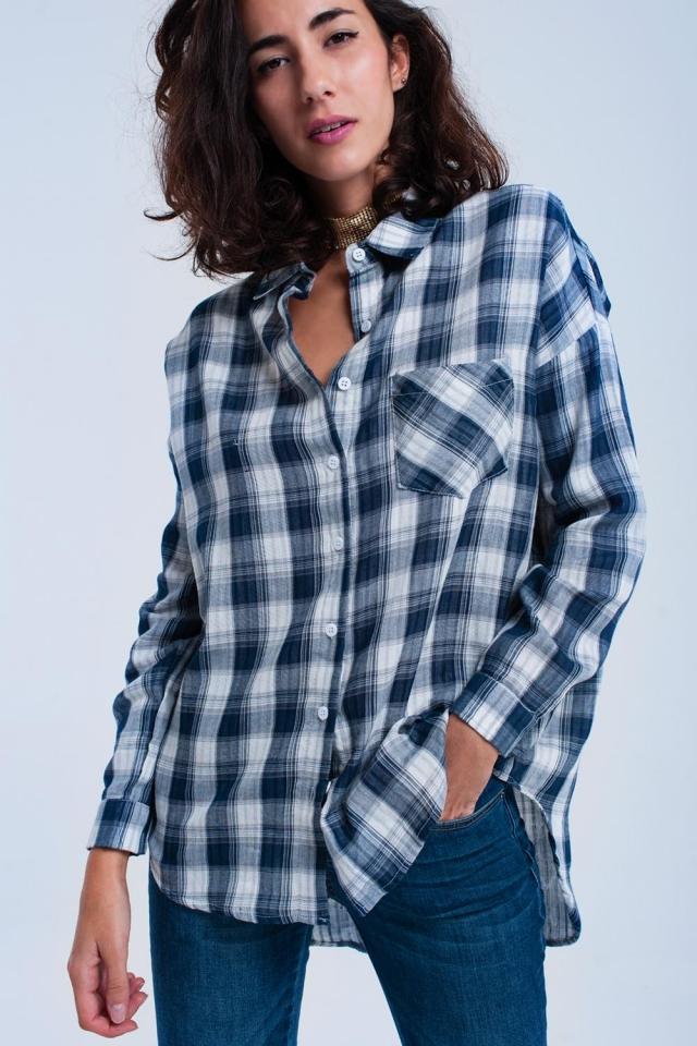 Blue tartan pattern shirt