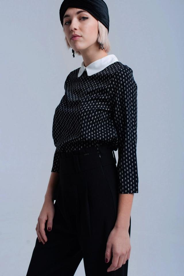Camicia nera stampata con nastri