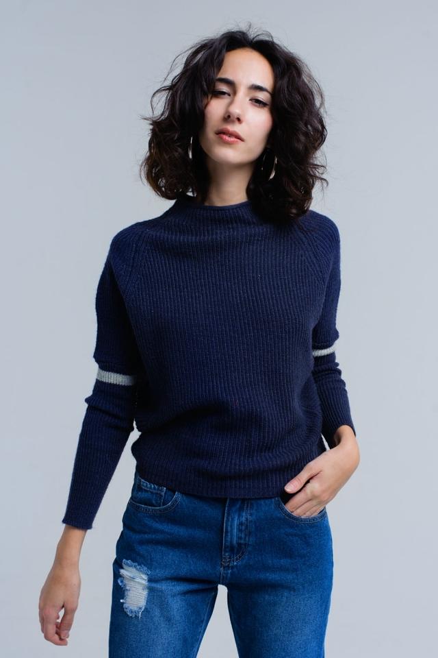 Maglione a costine in blu marino
