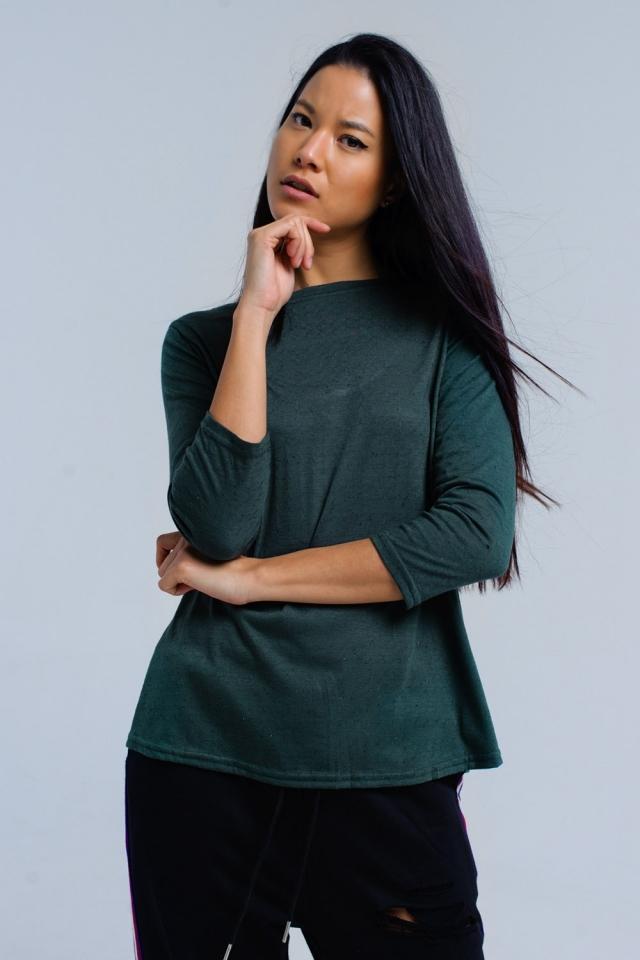 Camicia verde con banda elastica