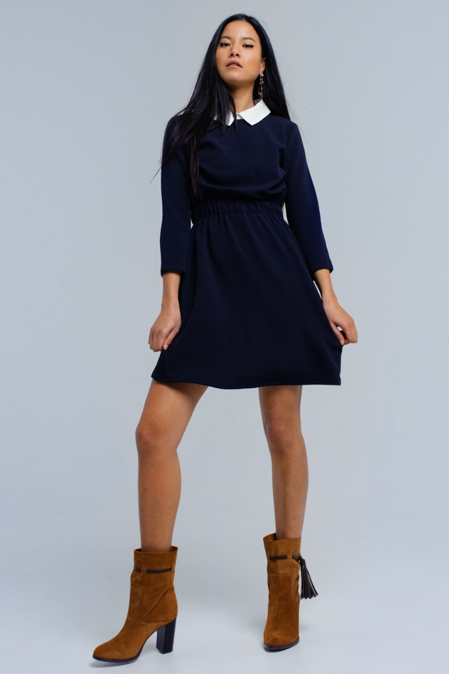 Vestito blu marino con elastico in vita