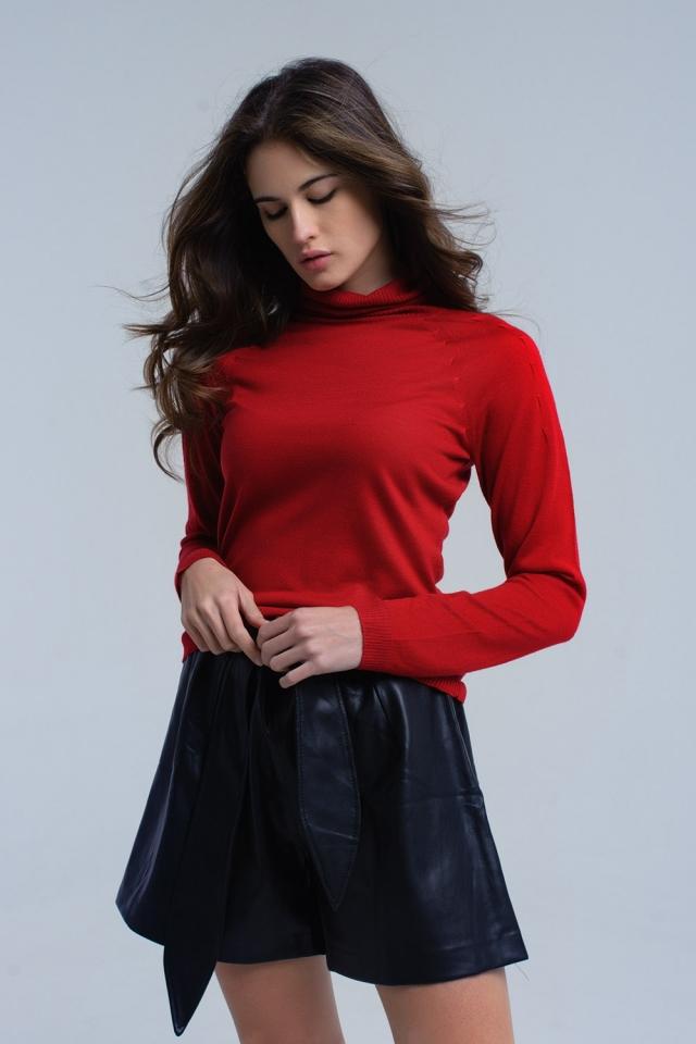 Maglia rosso con dettagli pieghettati