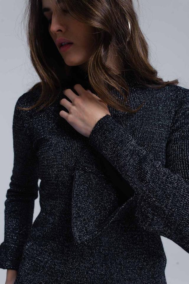 Black shiny sweater