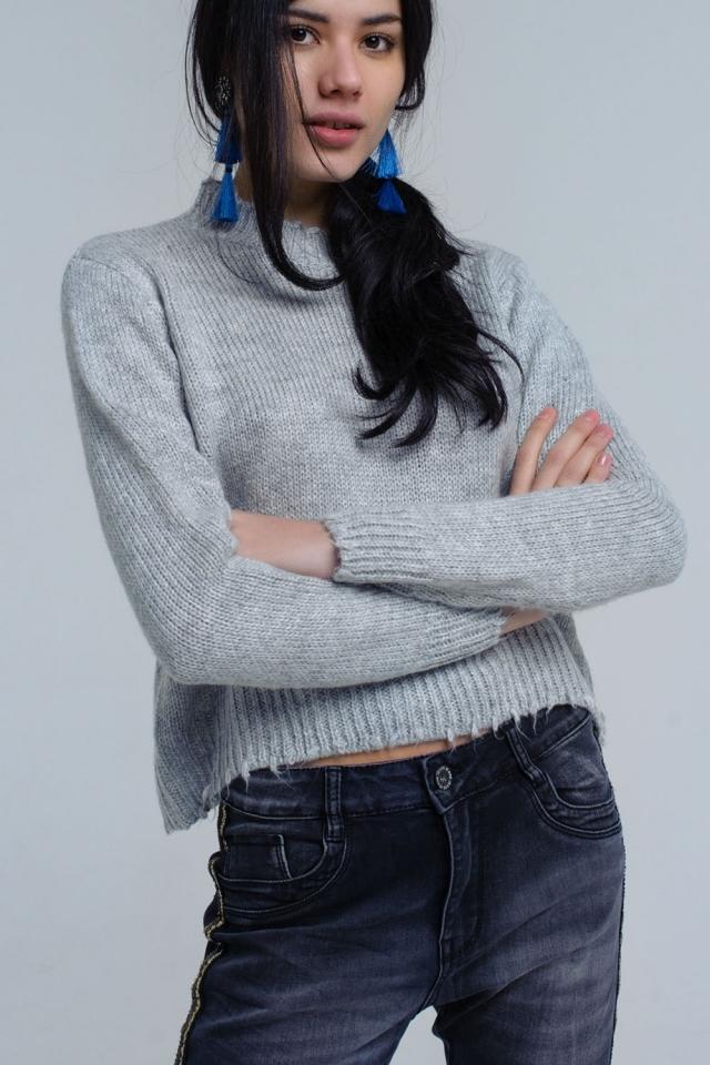 Maglione con orlo a goccia in maglia grigia