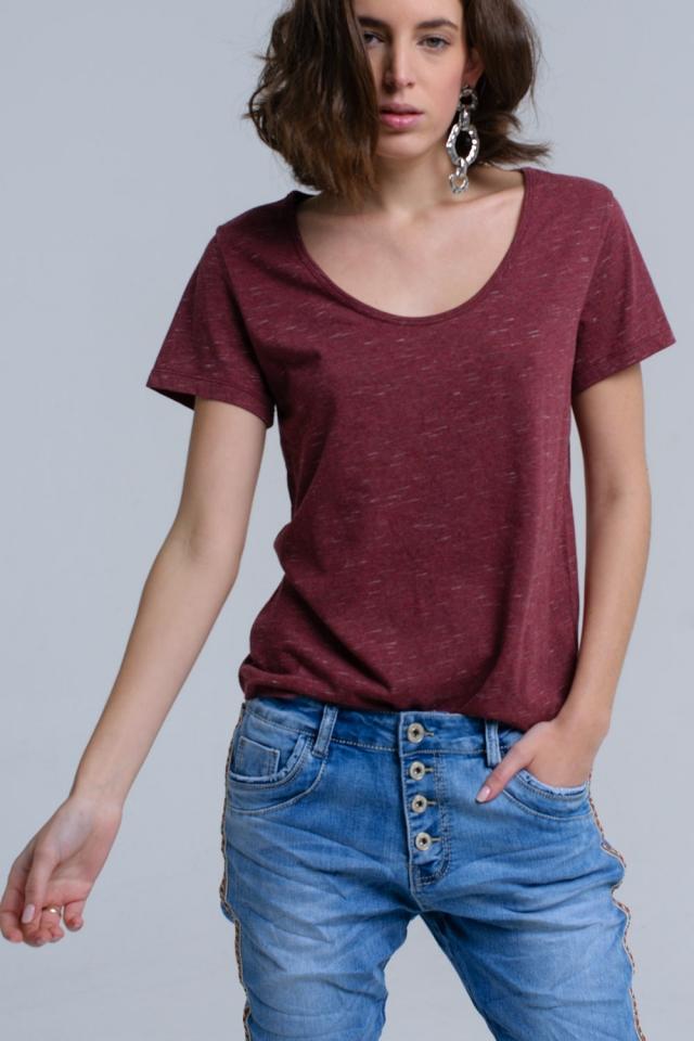T-shirt con stampa maculata in ruggine