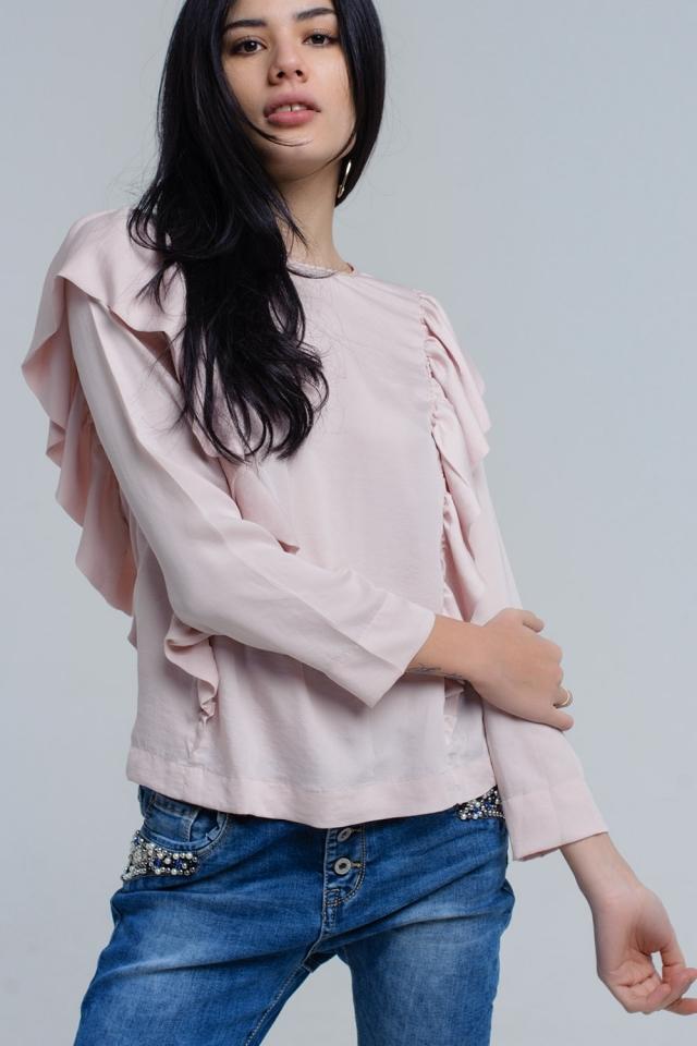 Top con dettagli a rouches in rosa pallido