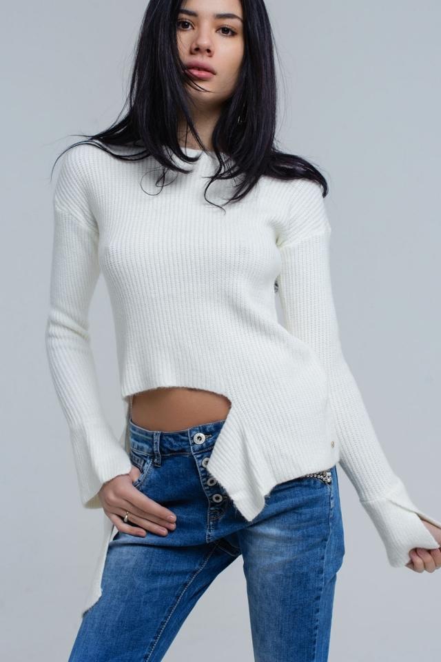 Maglione asimmetrico in maglia crema