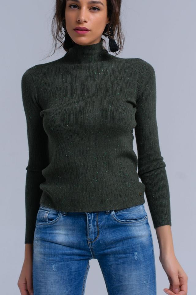 Maglione in maglia verde con lurex