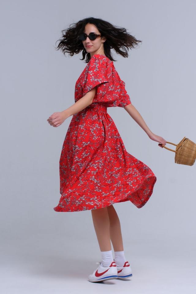 Vestito lungo rosso stampato a fiori