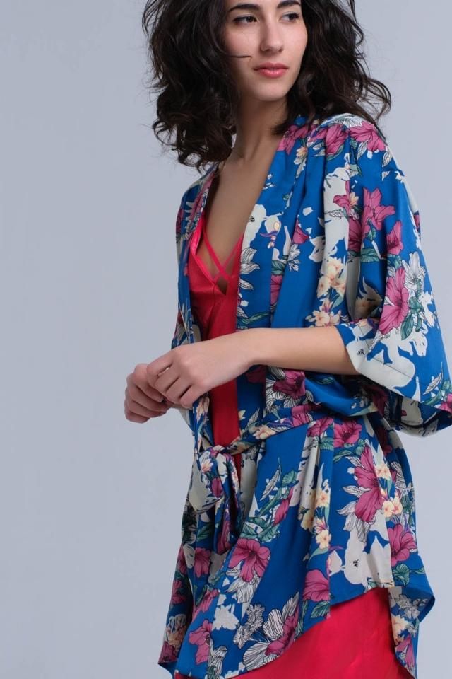 Kimono blu stampato a fiori