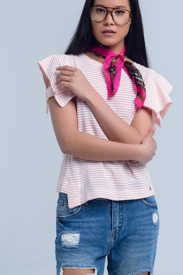 T-shirt a maniche corte a righe rosa