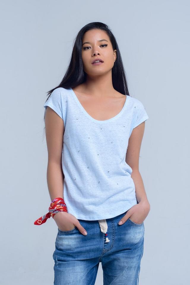 T-shirt blu con strass di cristallo