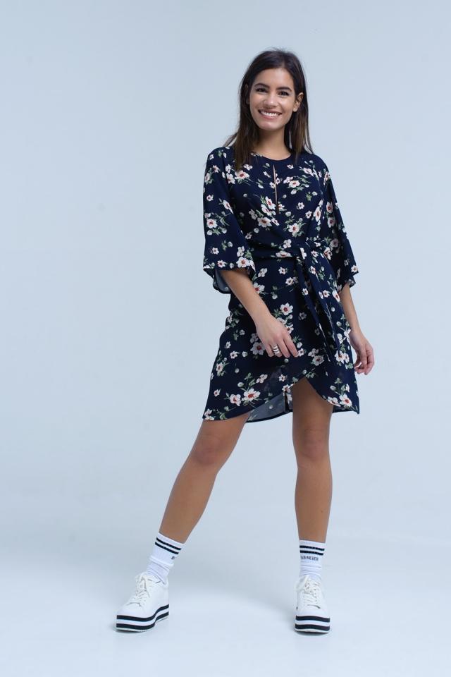Vestito midi con stampa floreale blu navy in chiffon