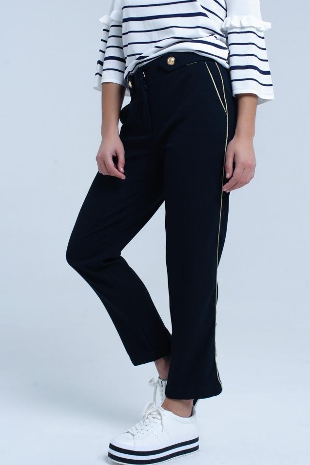 Pantaloni blu scuro con profili a contrasto