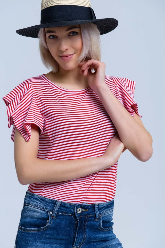T-shirt a maniche corte a righe rosse