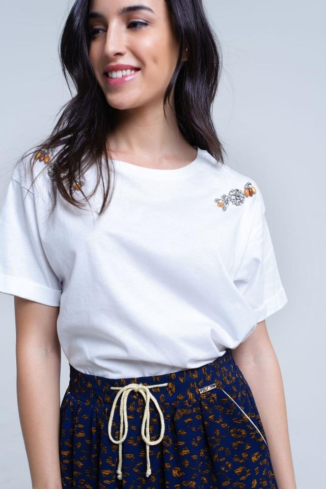 T-shirt bianca con strass di cristallo