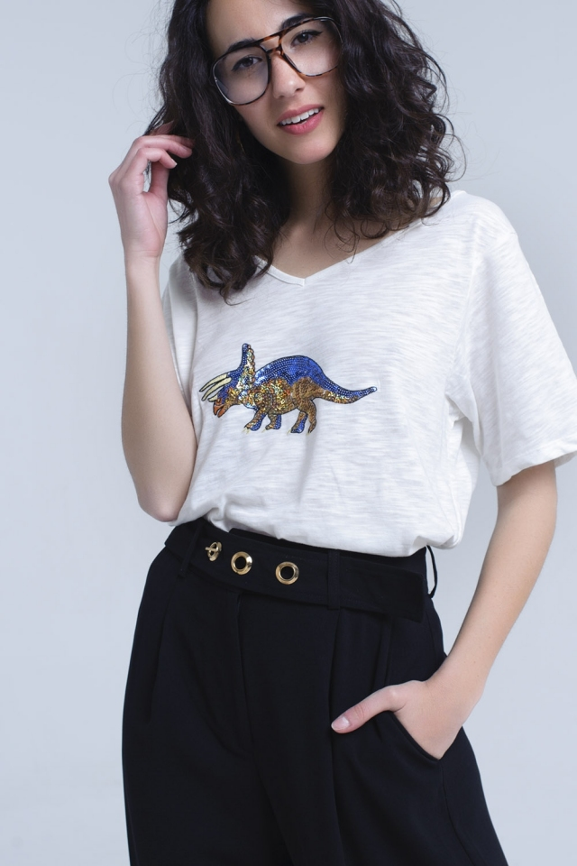 T-shirt bianca con rinoceronte in paillettes