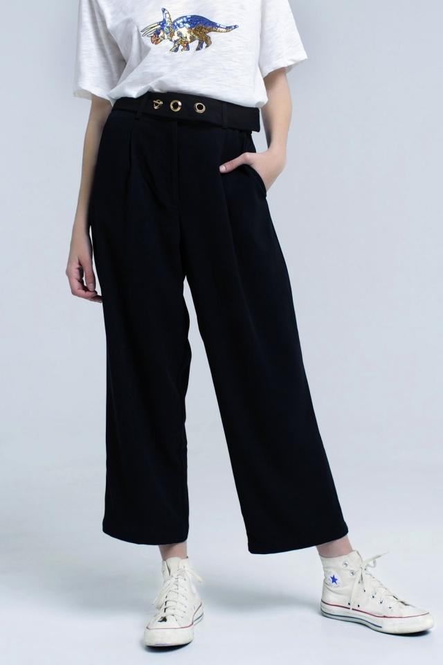 Pantaloni alla caviglia neri con dettaglio cintura